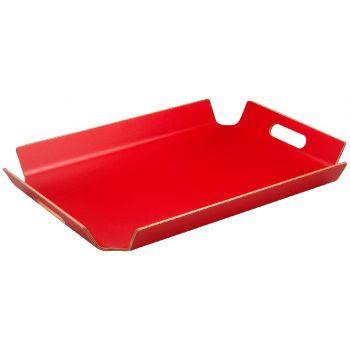 Rood dienblad met handgrepen 55x40x5cm