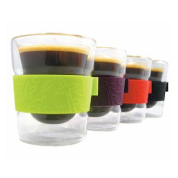 Make My Day dubbelwandig glas 88ml set van 2 stuks zwart