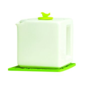 Make My Day witte theepot kubus 4-kops met groene dop MMD-TC04-WT